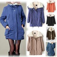 2013 New Woman Winter Lapel Warm Cotton Coat Thick Jacket Lamb Wool Outwear Parka WF-48356