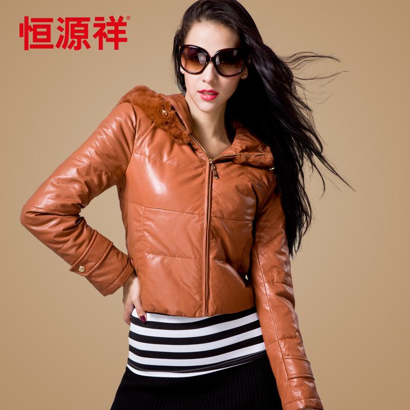 Heng YUAN XIANG women's fashion down coat short design large fur collar casual outerwear women's shiny winter clothes(China (Mainland))