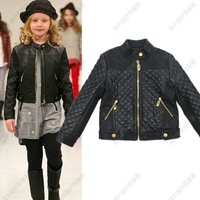 5 pcs/lot 2013 new leather jacket, spring and autumn girl child leather jackets kids fur coat Promotion