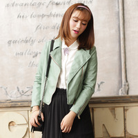 Autumn new arrival a24032 fresh green turn-down collar oblique zipper short design leather clothing