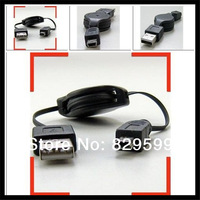 200 Pcs A lot USB 2.0 Type A Male to Mini B Male mini usb retractable cable