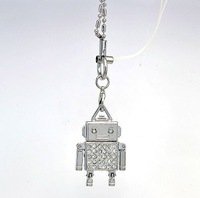 metal silver robot crystal jewelry USB 2.0 flash drive memory pen disk Drop ship dropshipping
