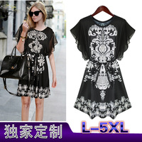 Europe and large size women dress 2013 summer thin paragraph Crewneck loose chiffon free shipping L-5XL