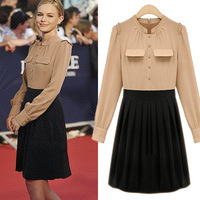 2013 autumn fashion plus size clothing one-piece dress slim gentlewomen elegant long-sleeve high waist one-piece dress