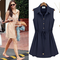2013 summer fashion one-piece dress plus size vest chiffon one-piece dress slimS-XL