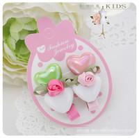 fashion double heart with sweet flower hair clip ,children accessories/headwears