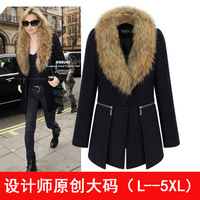 2013 fashion medium-long plus size clothing large fur collar woolen overcoat woolen outerwear suit XL-6XL