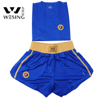 """New style sanda \ kickboxing clothes /training suit /sleeveless embroidered logo """"martial"""" / free shipping"""