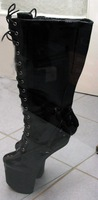 "Free shipping,8"" without heels Lady gaga holloween's fashion knee high boots,size36,37,38,39,40,41,42,43,44,45,46 (In Stock)"