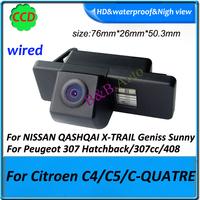 CCD car parking rearview backup camera For nissan X-TRAIL Geniss Sunny /Citroen C4/C5/C-QUATRE/ Peugeot 307 Hatchback/307cc/408