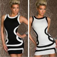 Hot Selling Round Neck Sleeveless Black And White Stripe Dress Slim Fit Body Con Clubwear Mini Dress Women Sexy Dress