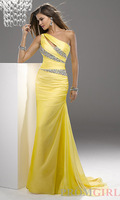 Custom Made Mermaid 2013 Sexy Yellow One Shoulder Evening Dresses Beaded Party Formal Prom Dress