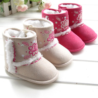 Free shipping 2013 new baby first walkers Red embroidered  warm toddler  snow boots non-slip shoes soft sole shoes new year