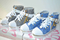 Denim high-top canvas shoes platform shoes elevator shoes platform wear-resistant bow princess shoes slimming shoes swing