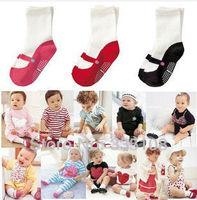 3pairs/Lot 3-Color Ballet Shoes Design Socks baby girl socks free shipping 100%  baby wear Anti-Slip