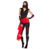 free shipping Amour Sexy Deadly Ninja Warrior Costume Fancy Party Dress Set Halloween Woman Adult