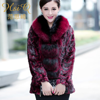 2013 Women marten overcoat fight mink fox fur medium-long slim outerwear