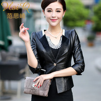 2013 autumn women outerwear genuine sheepskin leather motorcycle short design leather clothing outerwear fashion