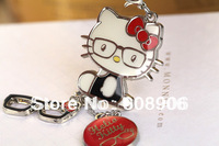 Z122a 2014 Hot Selling Adorable Red Style Hello Kitty & Glasses Charms Keychain Key Ring