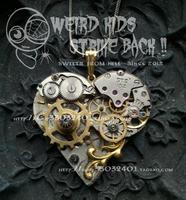 Free Shipping Steampunk Statement Mechanical Watch Core Gear Love Necklace Heart-Shaped Chain Gear Set Pendant Jewelry