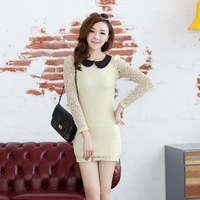 2013 autumn and winter women lace long-sleeve dress slim gentlewomen