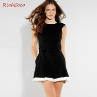 Richcoco fashion street fashion colorant match pumping slim o-neck short-sleeve one piece shorts d180