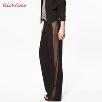 Richcoco studio design fashion chiffon patchwork solid color straight casual pants d105