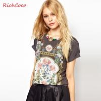 Fashion royal richcoco wind flower print o-neck short-sleeve roll up hem sleeve cotton t-shirt d132