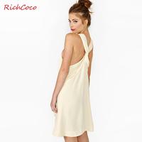 Richcoco back fashion elegant twist smoke racerback strapless o-neck sleeveless one-piece dress d161