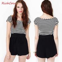 Fashion fashion richcoco pumping bow lacing chiffon high waist loose shorts d197