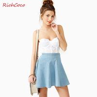 Fashion fresh richcoco street fashion solid color denim high waist ruffle bust skirt short skirt d128