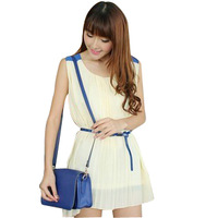 2013 summer women's color block chiffon sleeveless o-neck loose plus size one-piece dress with belt