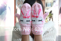 Free shipping Winter Add wool Warm Double Mittens Cute Rabbit Knitting Woolen Gloves Soft Comfort Warm and Antibacterial