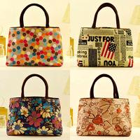 New Stylish Korean 2014 Large thickening double zipper handbags portable casual canvas shoulder bags , bolsas free shipping