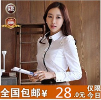 2013 spring plus size women's shirt OL outfit slim long-sleeve chiffon basic shirt casual shirt
