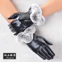 Rex rabbit hair sheepskin repair women's thermal fashion leather gloves women's sheepskin gloves full leather thermal