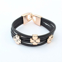 Min. Order $15 (Mix Designs) Europe New Fashion Hot Sell 4 Leaf Clover Women Alloy Bracelets,8 Colors,Free Shipping,B10