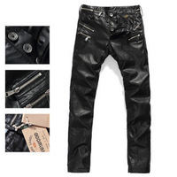 Male male comfortable motorcycle leather pants genuine leather sheepskin pants tight-fitting