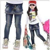Free shipping 1pcs New Autumn female children denim skirt jeans 2 piece girls jeans Stitching stripes