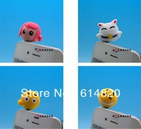 35pcs cartoon Lovely face Anti Dust Earphone Jack Cap Plug Stopper For Iphone HTC All Cell Phone Free shipping