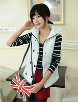 2014 Hot! winter new Korean fashion Corset Slim Hooded long section cotton vest cotton Corset  vest ladies Waistcoat Corset