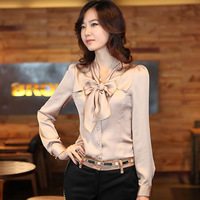 Shirt female 2013 autumn women's plus size white bow long-sleeve shirt slim top
