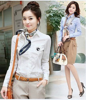 2013 spring women's slim waist slim preppy style vintage shirt female long-sleeve shirt