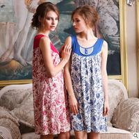 2014 summer 100% Cotton pajamas for women  in classical kapok thin print vest pijama women sleepwear dress women's lounge set