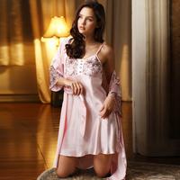 2015 Full Lace Flower Spaghetti Silk Fabric Strap Dress Twinset Sleepwear Women's Lounge Pajama Sets Nightgown Bestselling