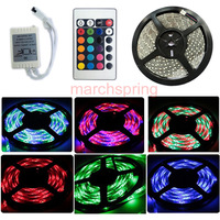 HOT RGB 3528 led strip 300LED 5M RGB +24 key IR Remote,non-waterproof led strip + free shipping