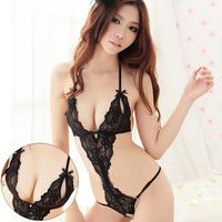 black sexy lingerie lace open-crotch Underwear bodysuit set for women