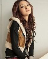 Women Fashion Winter Short Hooded Fleece Imitate horn Buckles Vest Free Shipping D305-55011