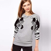 New 2013 Autumn-Summer  Women's T-Shirt Zebra Personalized,Printed Blouses Sleeve Round Neck Gray T-Shirt,Camisas Top Women