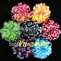"""3.2"""" chiffon chevron ballerina silk flower for baby headband, 48pcs/lot mixed 12colors, free shipping"""